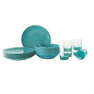 Set 12t./Teller+Glas Mesh Colours Aqua Rosenthal