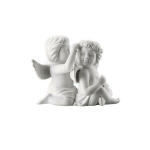 Engelpaar gross mit Blumen Weiss matt Rosenthal
