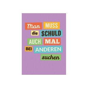 Postkarte 10,5x14,8 cm Schuld suchen sticky jam
