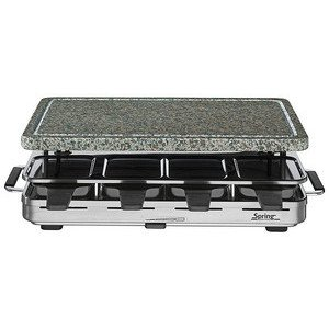 Raclette 8 Inox mit heissem Stein 1200 Watt Spring