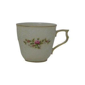 "Kaffee-Obertasse ""Sanssouci Elfenbein Moosrose neu Poliergold Ramona"" Rosenthal"