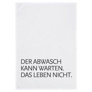 Baumwoll-Geschirrtuch weiss Der Abwasch kann warten.... 17;30 made in Hamburg
