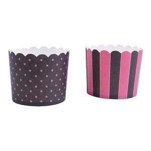 Cup Cake Cups pink-schwarz Punkte / Streifen 12 Stück Städter