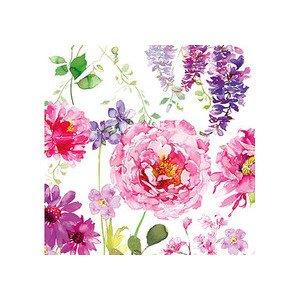 Servietten 25x25 cm Pink Roses white Ambiente