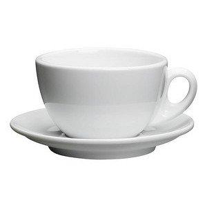 Milchkaffeetasse Roma weiss m. Untere Cilio