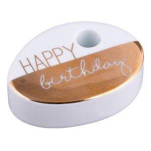 Wunschkerze 7x5x2 cm Happy Birthday gold Räder