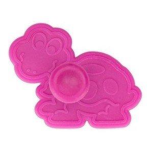 Präge Ausstecher Schildkröte 6 cm mit Auswerfer Kunststoff pink Städter