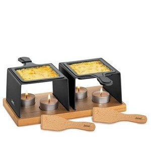 Raclette Gourmet 2 Pfännchen mit Teelicht Spring