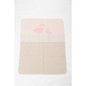 70 x 90 cm Babydecke Juwel Flamingos/Streifen altrosa David Fussenegger