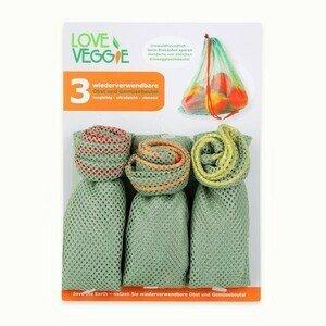 Obst und Gemüsebeutel 3er Set Love Veggie Slowroom