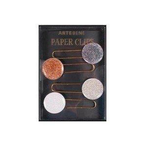 Büroklammern/Lesezeichen 4er S Glitter grau kupfer silber weiss Artebene