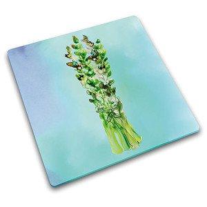 Schneidplatte Spargeln Wasserfarben Glas 30 x 30 cm Joseph Joseph