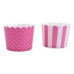 Cup Cake Cups rosa Punkte / Streifen 12 Stück Städter