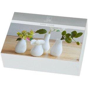 Minivasen 4er Set weiss Zuhause Porzellan Räder