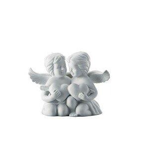 Engelpaar mittel mit Herz weiß matt Rosenthal