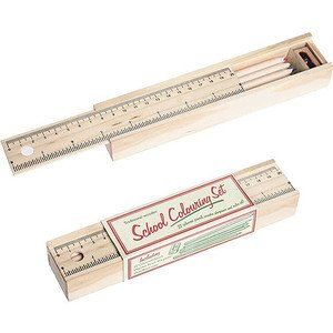 Schiebeetui Holz inkl.12 Buntstiefte u. Lineal 20cm Rex International