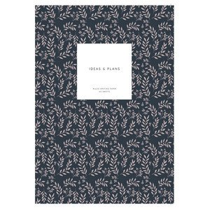 Medium Softcover Notebook KARTOTEK // Leaves Navy Mark's Europe