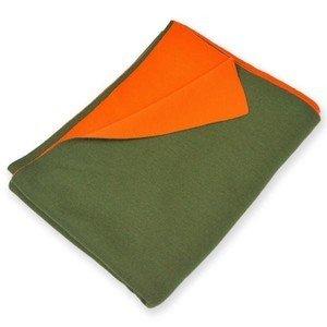 140x180 cm Plaid Doubleface grün/orange Merinowolle Lenz & Leif
