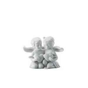 Engelpaar klein mit Herz weiß matt Rosenthal