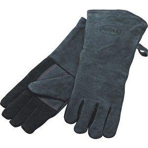 Grillhandschuhe 2tlg. Leder grau schwarz Rösle