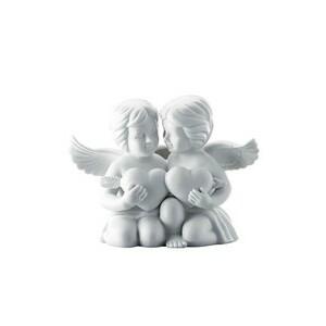 Engelpaar gross mit Herz weiß matt Rosenthal
