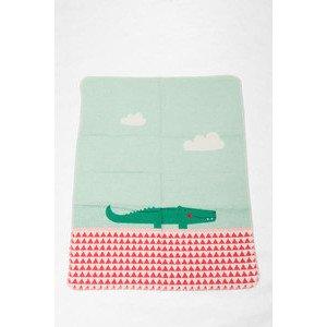 70 x 90 cm Babydecke mit Stick Juwel Krokodil altrosa David Fussenegger
