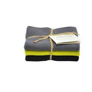 Wischtücher 3er-Pack grau/zitrone/schwarz Solwang
