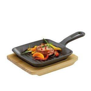 Grill-/Servierpfanne mit Holzbrett Küchenprofi