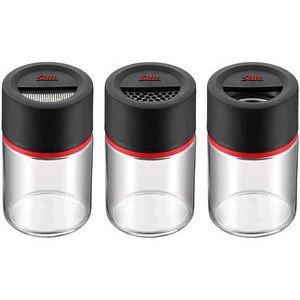 Gewürzstreuer 3-tlg. Kunststoff Glas schwarz Ø 5,6 Silit