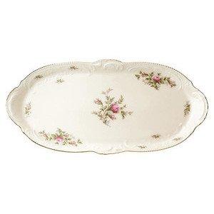 "Kuchenplatte oval ""Sanssouci Elfenbein Moosrose neu Poliergold Ramona"" Rosenthal"