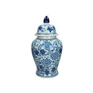 Vase m. Deckel 22x22x36,5cm Porzellan blue