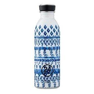 Trinkflasche 0,5 l blau weiß gemustert 24bottles