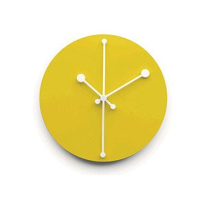 Wanduhr aus Stahl gelb Dotty Clock Alessi