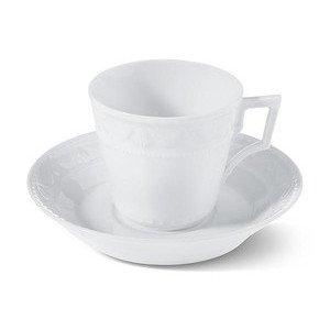 """Kaffee-/Tee-Untertasse 14,5 cm Handarbeit """"Kurland weiss"""" weiss KPM Berlin"""