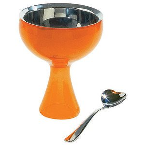 Eisbecher mit Löffel orange Big Love Alessi