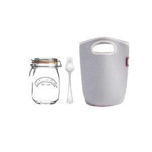 Bügelverschluss Glas mit Gabel und Tasche 1l Kilner