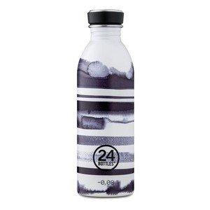 Trinkflasche 0,5l Steifen schwarz weiss 24bottles
