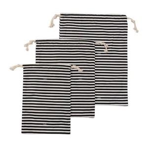 Textilbeutel mit Kordel 3er Set Streifen schwarz, weiß Nuts Innovations AG