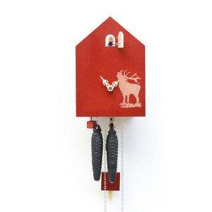 1-Tag-Kuckucksuhr modern Hirsch rot Romba Design