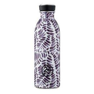 Trinkflasche 0,5 l schwarz weiß Blätter 24bottles