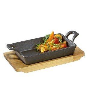 Grill-/Servierpfanne Gusseisen mit Holzbrett Küchenprofi