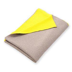 140x180 cm Plaid Doubleface beige/gelb Merinowolle Lenz & Leif