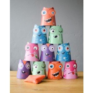 Dosenwerfen Set Papiermonster Crazy Three