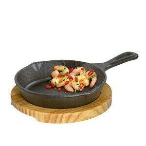 Servierpfanne rund Gusseisen mit Holzbrett Küchenprofi