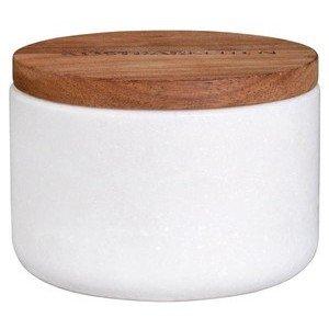 Dose m. Holzdeckel Durchmesser 8cm H.5,5cm Marmor Räder