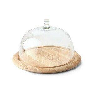 Käseglocke 2 tlg. Holz / Glas 33cm Continenta